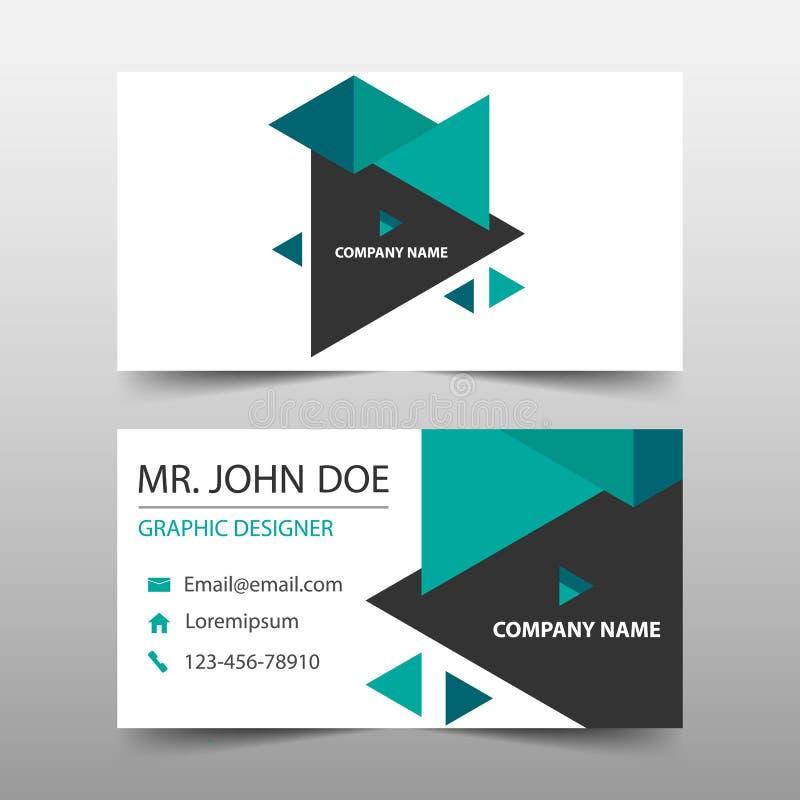 绿色三角公司业务卡片,名片模板,水平的简单的干净的布局设计模板,横幅模板 向量例证
