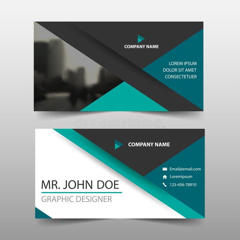 绿色三角公司业务卡片,名片模板,水平的简单的干净的布局设计模板, 向量例证