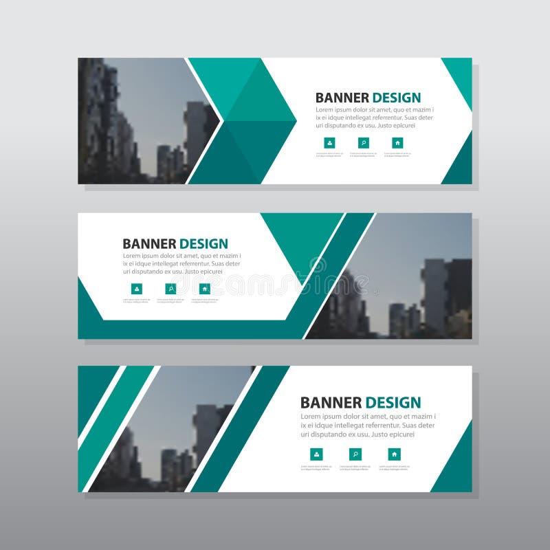 绿色三角摘要公司业务横幅模板,水平的广告业横幅布局模板平的设计集合 向量例证