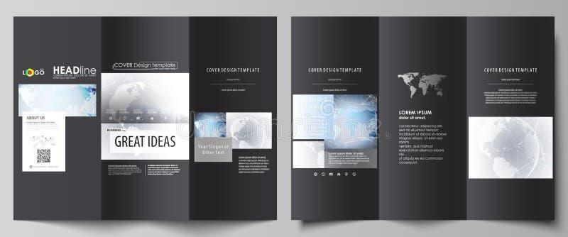 黑色上色了两创造性的三部合成的小册子盖子编辑可能的布局的minimalistic传染媒介例证  皇族释放例证