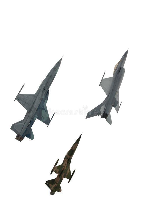 绿色上色了伪装战斗机被隔绝反对 免版税库存图片