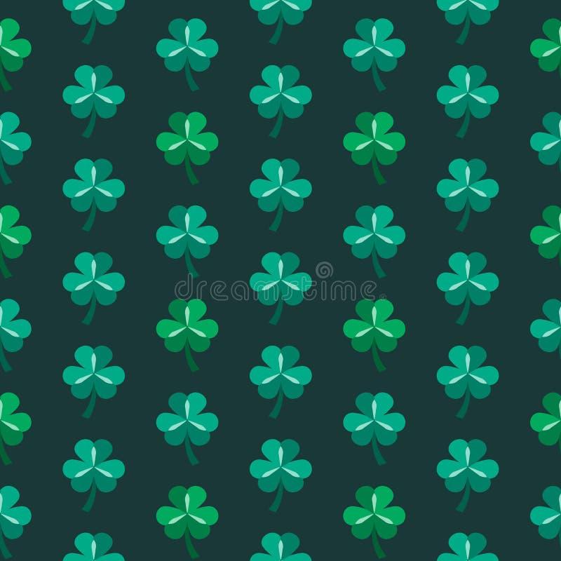 绿色与三叶草的圣帕特里克的天无缝的样式 皇族释放例证