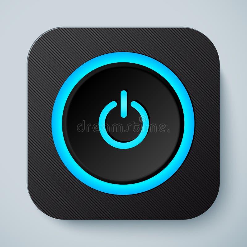 黑色与力量按钮的被环绕的方形的象 皇族释放例证