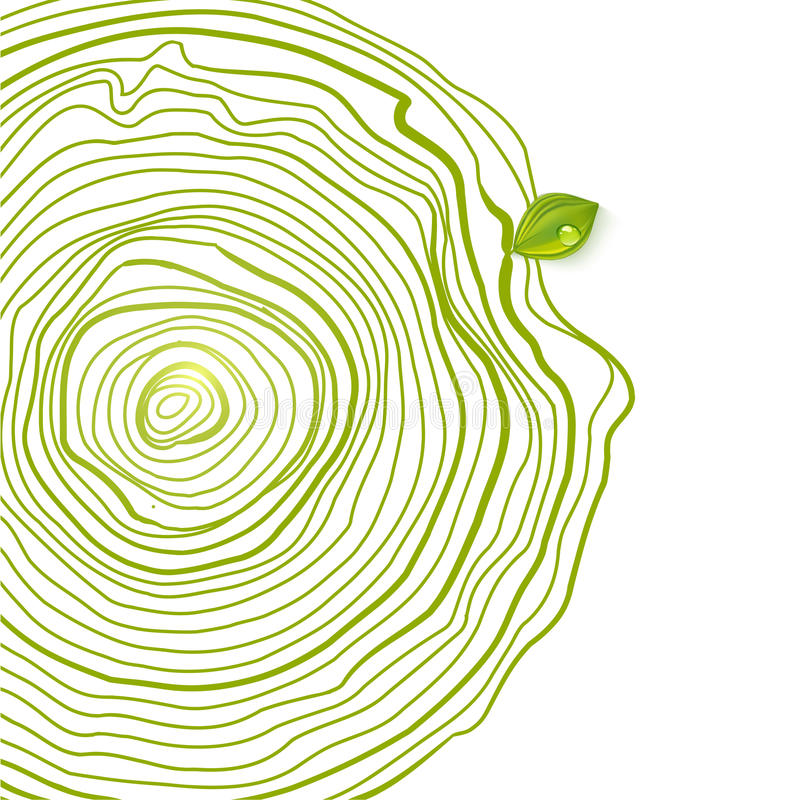 绿色与叶子的eco友好的图画圈子 库存例证