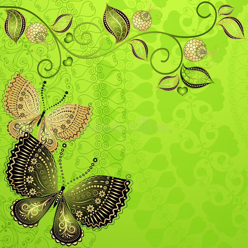 绿色春天葡萄酒花卉框架 皇族释放例证