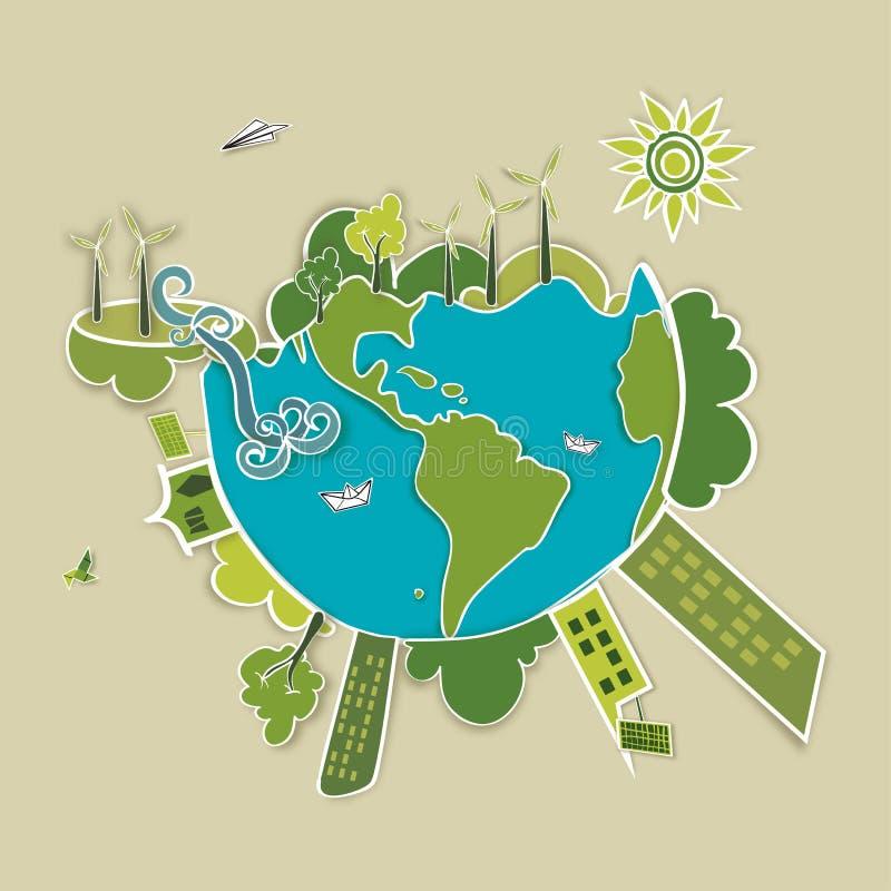绿色世界背景 向量例证