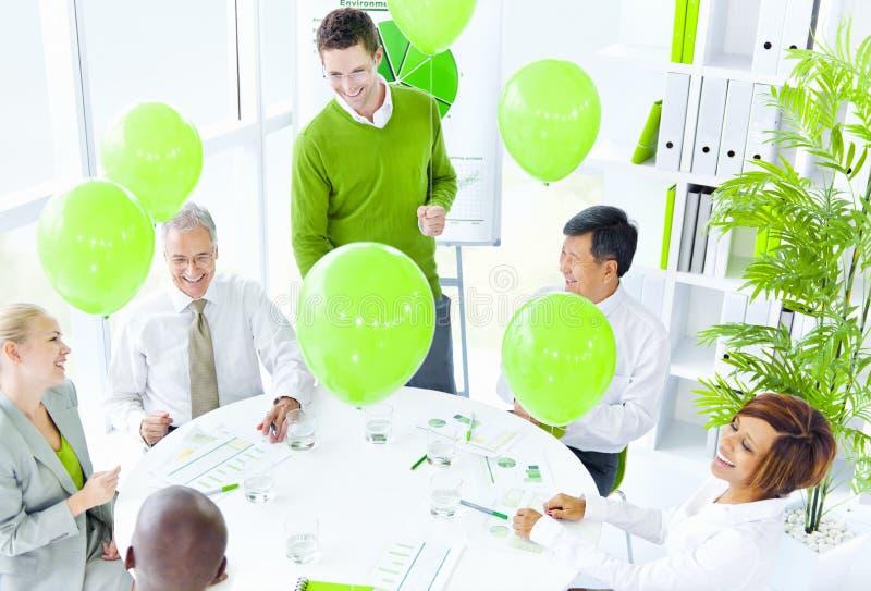 绿色业务会议办公室概念 免版税库存照片