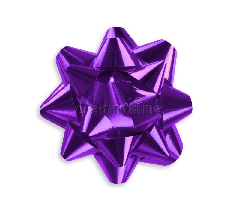 紫色丝带弓 免版税库存照片