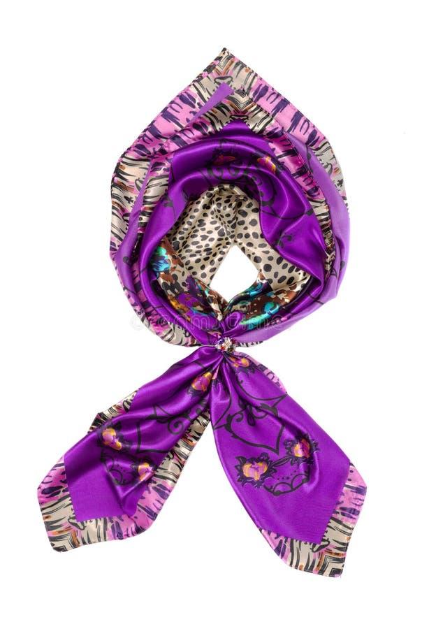 紫色丝绸围巾,孤立 免版税库存图片