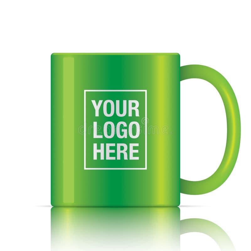 绿色传染媒介咖啡杯 库存例证