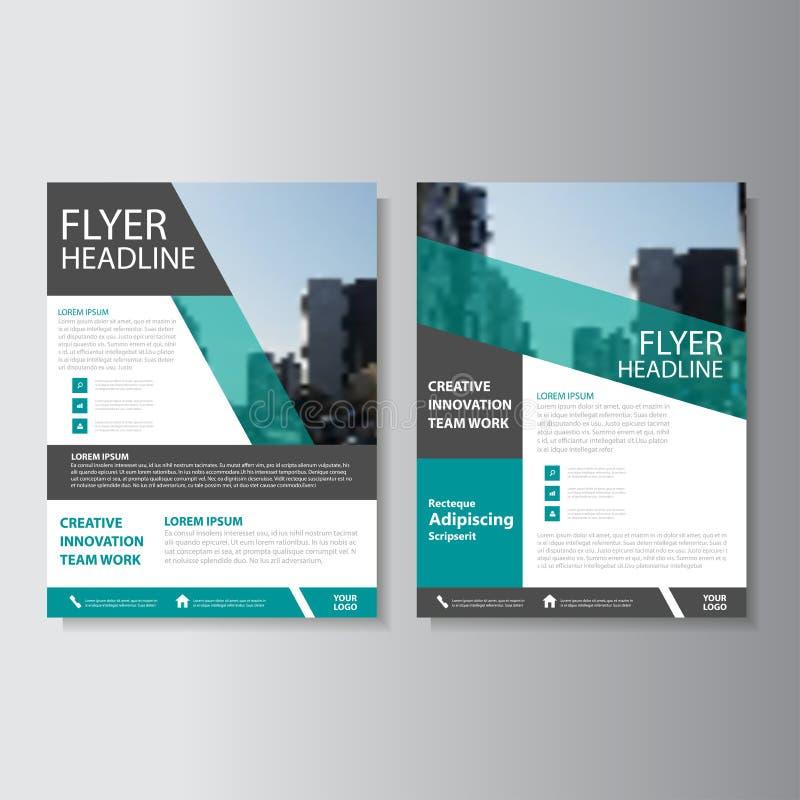 绿色传染媒介年终报告传单小册子飞行物模板设计,书套布局设计,抽象介绍模板 库存例证