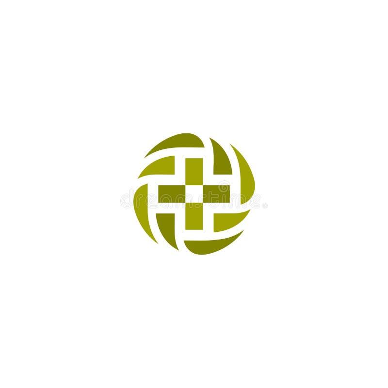 绿色传染媒介医疗发怒商标 圆形略写法 宗教标志 篡改办公室象征 救护车标签 首先帮助 库存例证