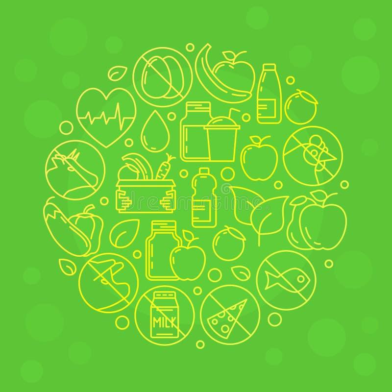 绿色传染媒介素食主义者例证 库存例证