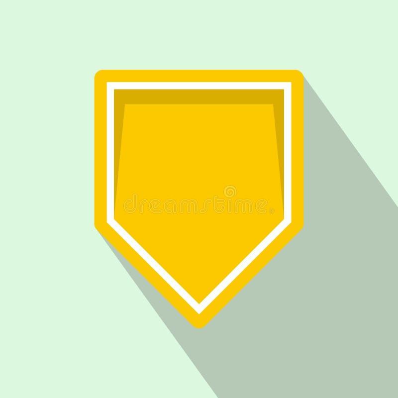 黄色信号旗象,平的样式 库存例证