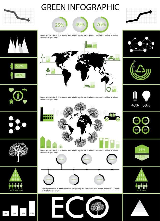 绿色信息图表 库存例证