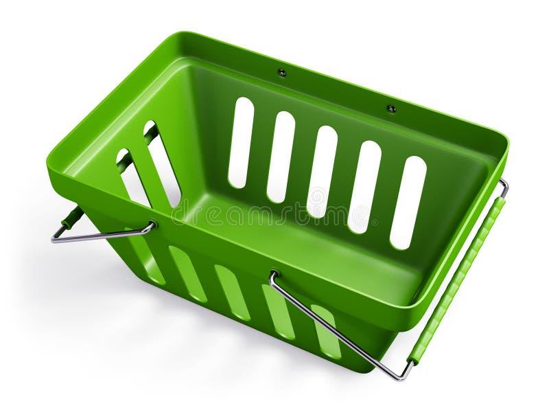 绿色倒空商店篮子2 免版税库存图片