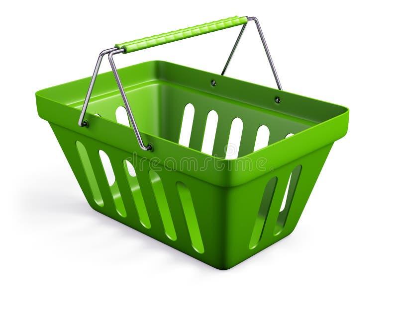绿色倒空商店篮子 免版税图库摄影