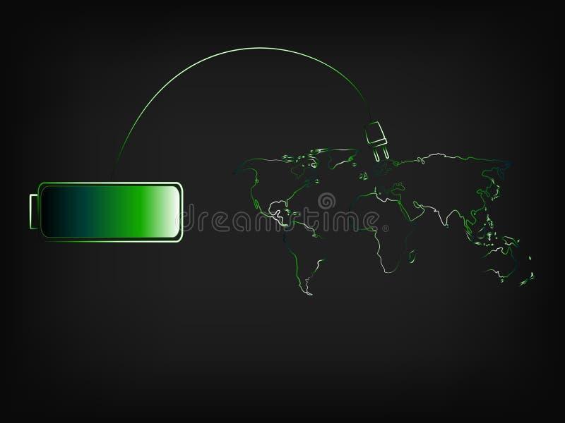 绿色充电可再造能源世界  库存例证