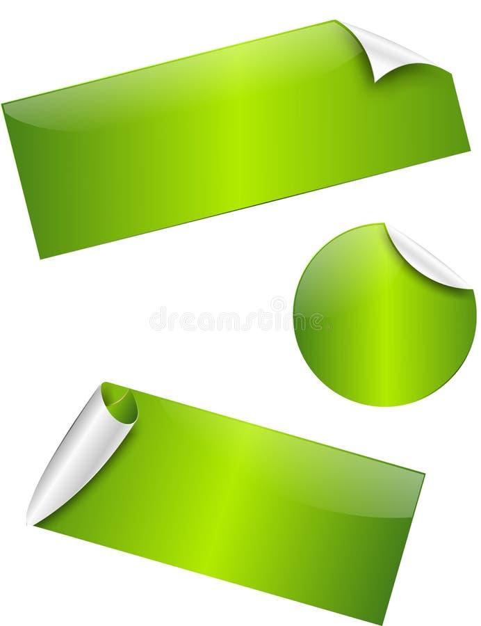 绿色光滑的贴纸 库存照片