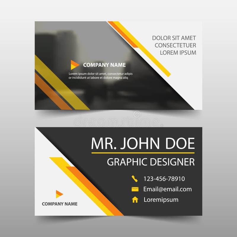 黄色公司业务卡片,名片模板,水平的简单的干净的布局设计模板,企业横幅模板 皇族释放例证