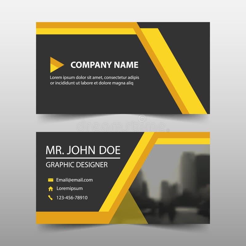 黄色公司业务卡片,名片模板,水平的简单的干净的布局设计模板, 皇族释放例证