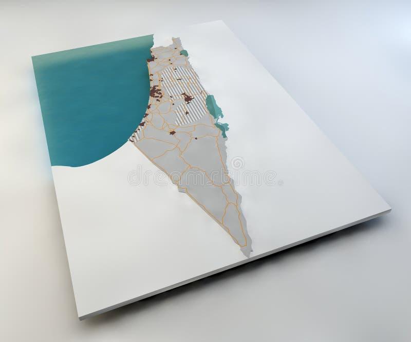 以色列和巴勒斯坦领土地图  库存例证