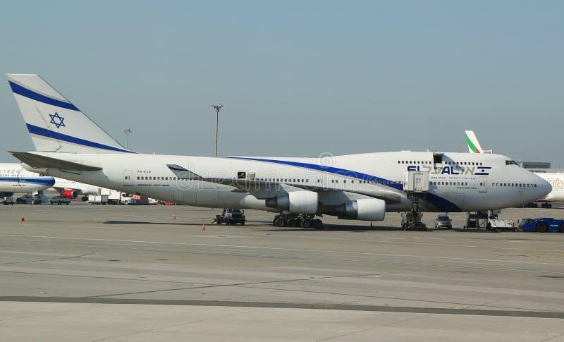 以色列航空公司波音747在约翰・肯尼迪机场在纽约 图库摄影