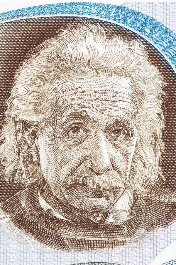 从以色列金钱的阿尔伯特・爱因斯坦画象 库存照片