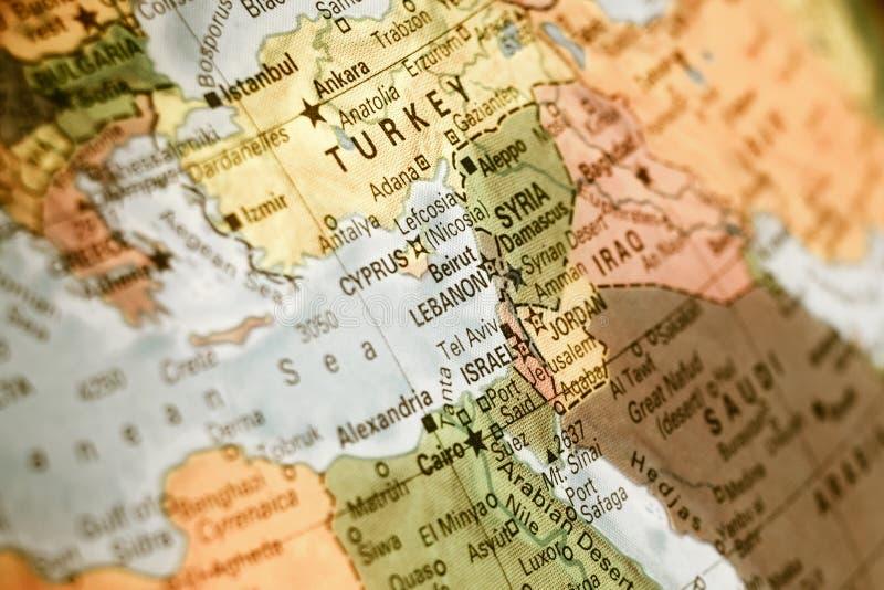 以色列,土耳其,约旦,黎巴嫩的地图 免版税库存图片