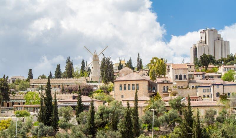 以色列,耶路撒冷Montefiore风车2015年4月4日 免版税库存照片