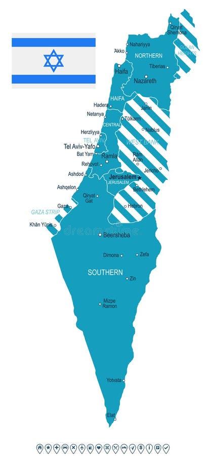 以色列-地图和旗子例证 库存例证