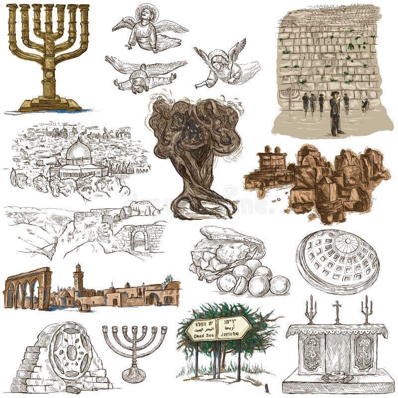 以色列-手拉的收藏 大型freehands 皇族释放例证
