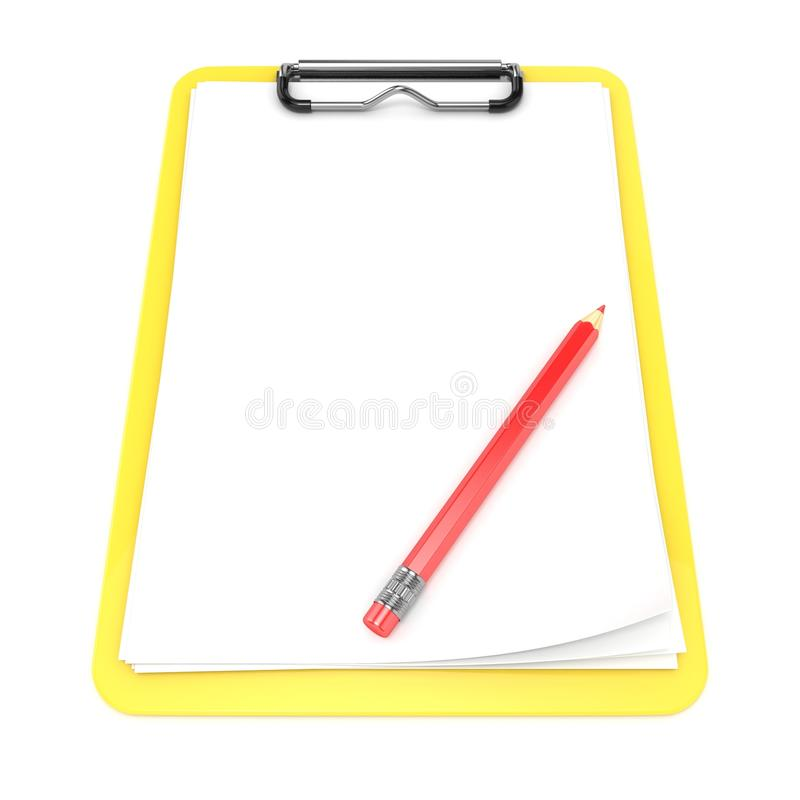 黄色剪贴板和白纸 3d回报 免版税库存照片