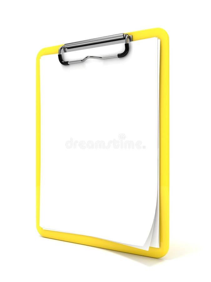 黄色剪贴板和白纸 3d回报 免版税库存图片
