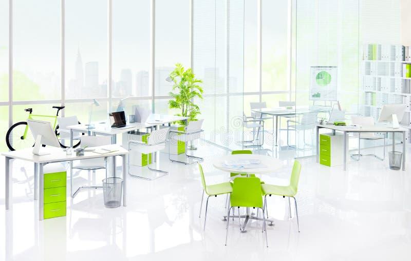 绿色办公室内部家具概念 库存图片