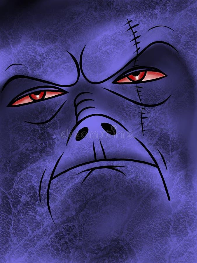 紫色动画片突变体面孔 库存例证