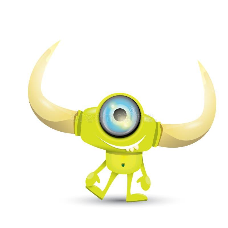 绿色动画片逗人喜爱的妖怪 皇族释放例证