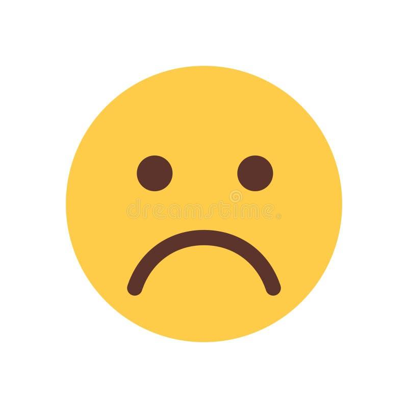 黄色动画片面孔哀伤的翻倒Emoji人情感象 皇族释放例证