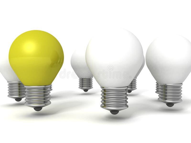 绿色单独电灯泡从圆的人群 向量例证