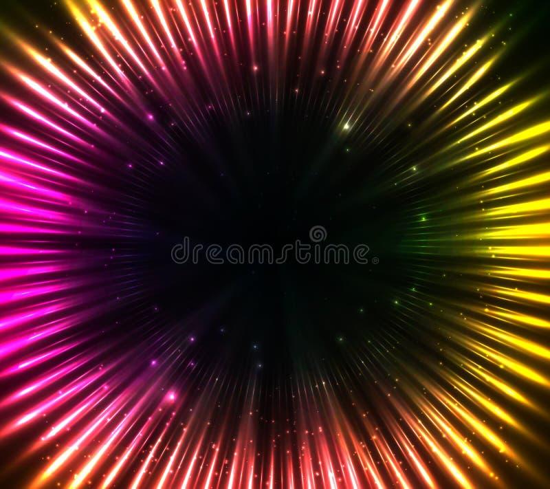 紫色发光的宇宙光抽象背景 向量例证