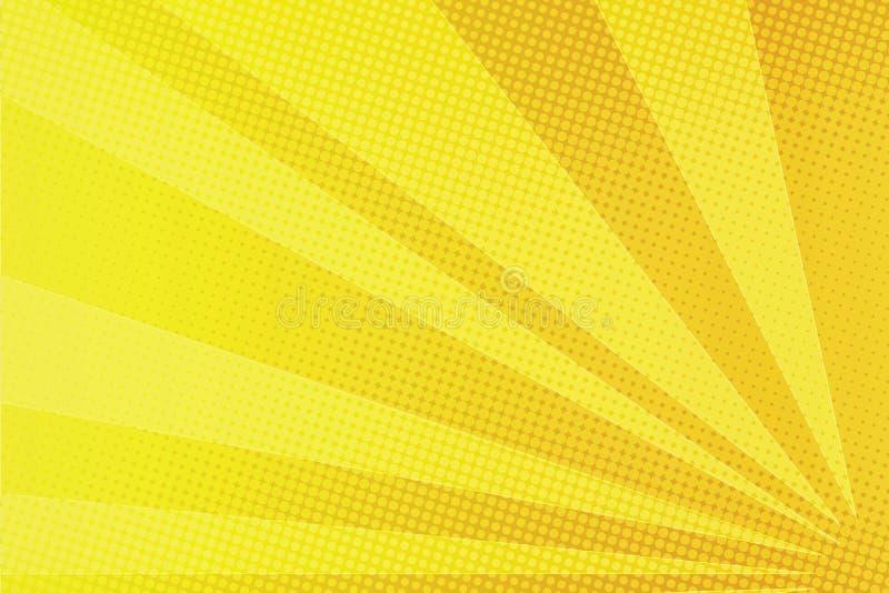 黄色发出光线可笑的流行艺术背景 向量例证