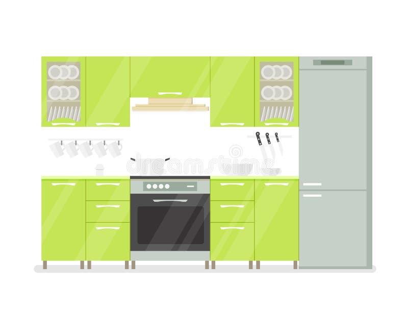 绿色口气的现代内部厨房室 在白色背景动画片例证 向量例证