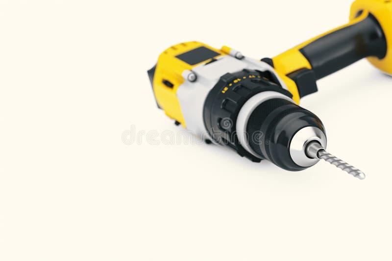 黄色可再充电和无绳的钻子 3d翻译 皇族释放例证