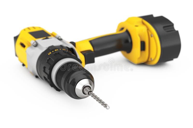 黄色可再充电和无绳的钻子 3d翻译 库存例证