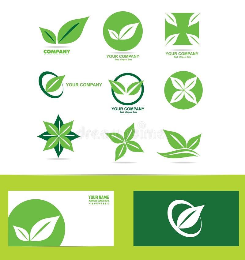 绿色叶子商标象集合 向量例证
