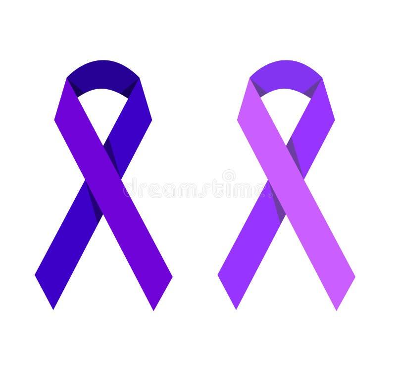 紫色同性恋恐惧症的丝带象征的受害者 库存例证