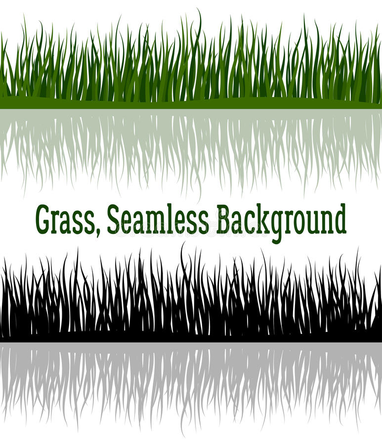 绿色和剪影草 皇族释放例证