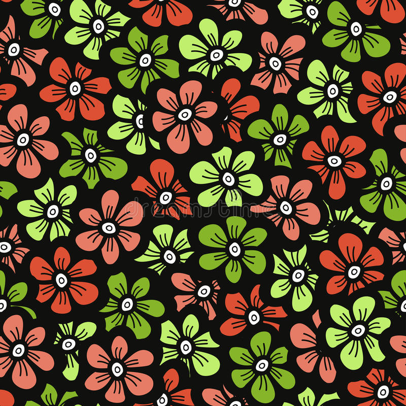 绿色和橙色乱画花纹花样 无缝的逗人喜爱的开花背景 春天墙纸 皇族释放例证