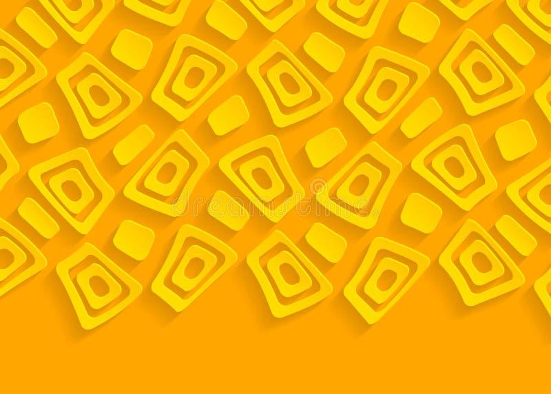 黄色和橙色几何纸抽象背景 皇族释放例证
