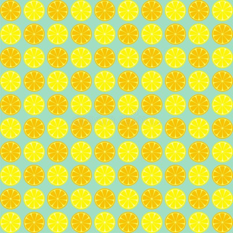 黄色和橙色柠檬切无缝的样式 柠檬的传染媒介例证 背景几何老装饰品纸张葡萄酒 库存例证